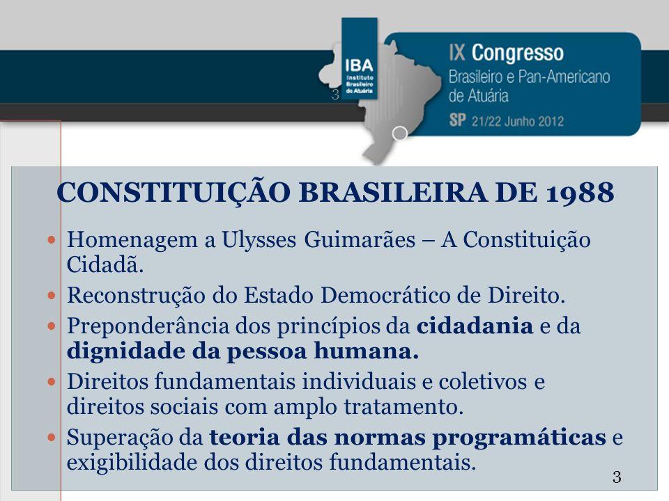 CONSTITUIÇÃO BRASILEIRA DE 1988 Homenagem a Ulysses Guimarães – A Constituição Cidadã. Reconstrução do Estado Democrático de Direito. Preponderância d