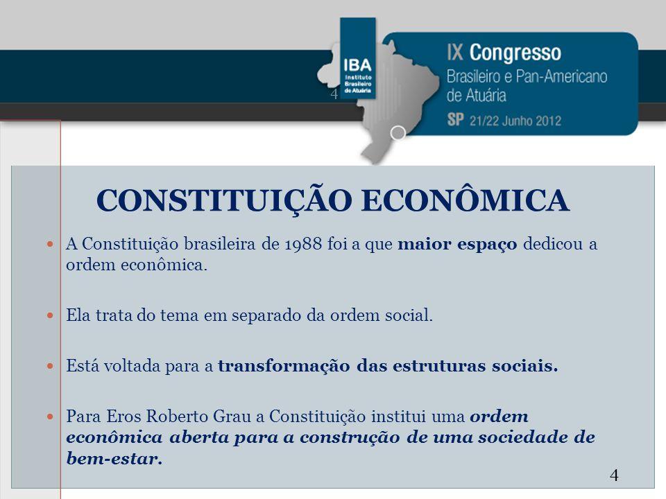CONSTITUIÇÃO ECONÔMICA A Constituição brasileira de 1988 foi a que maior espaço dedicou a ordem econômica. Ela trata do tema em separado da ordem soci