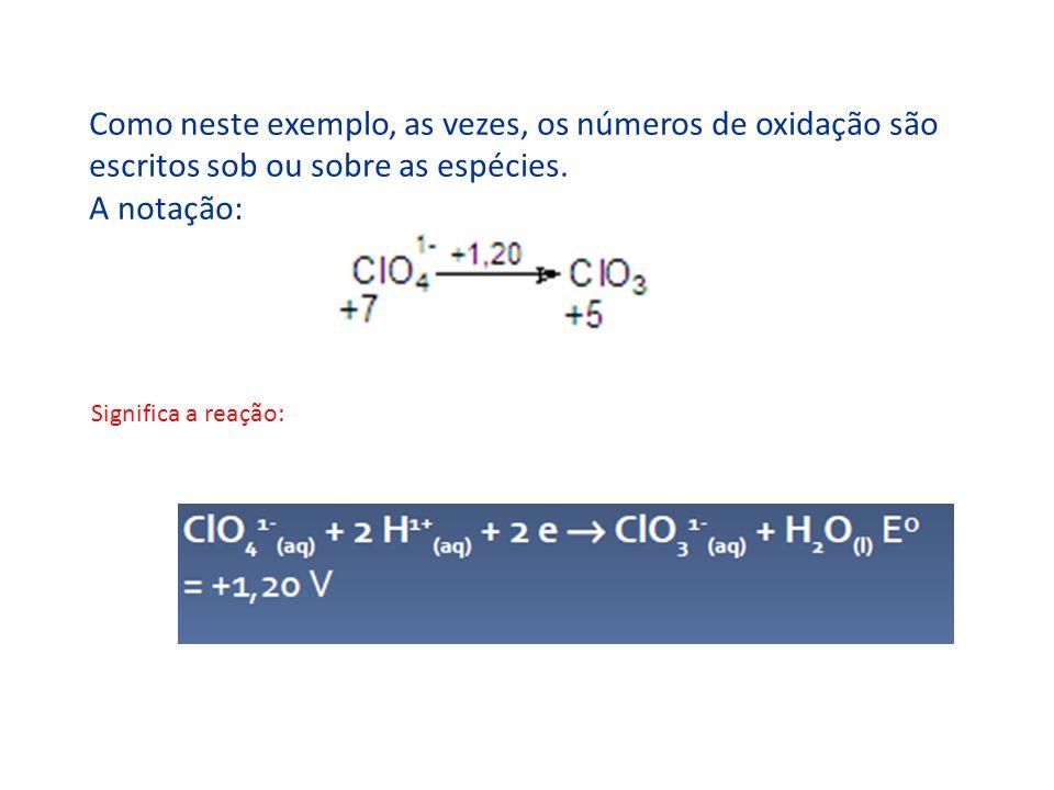 Como neste exemplo, as vezes, os números de oxidação são escritos sob ou sobre as espécies. A notação: Significa a reação: