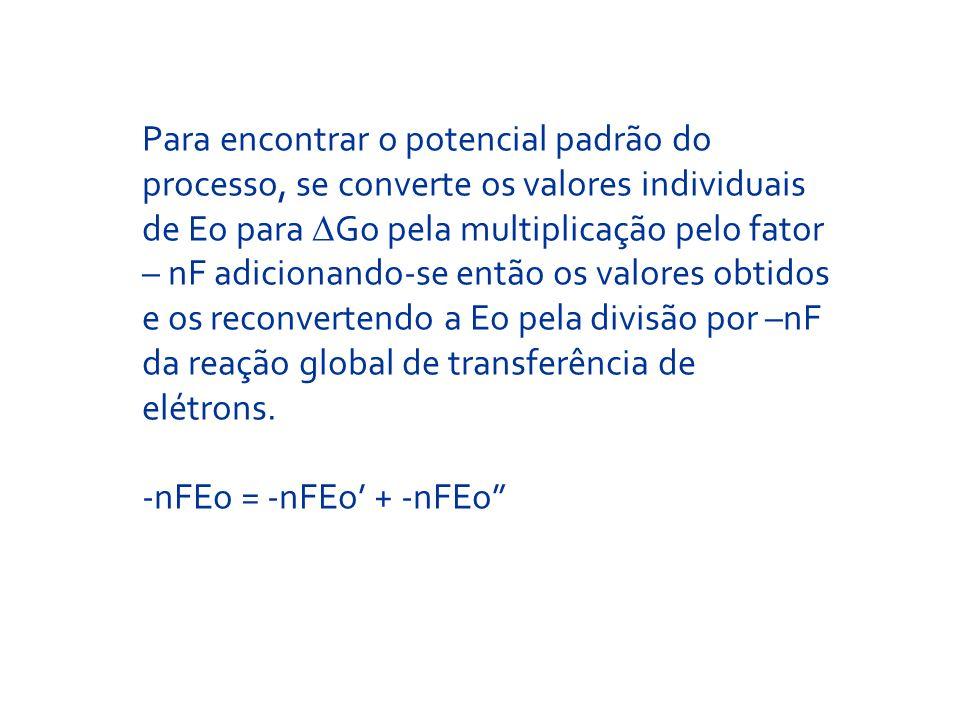 Para encontrar o potencial padrão do processo, se converte os valores individuais de Eo para Go pela multiplicação pelo fator – nF adicionando-se entã