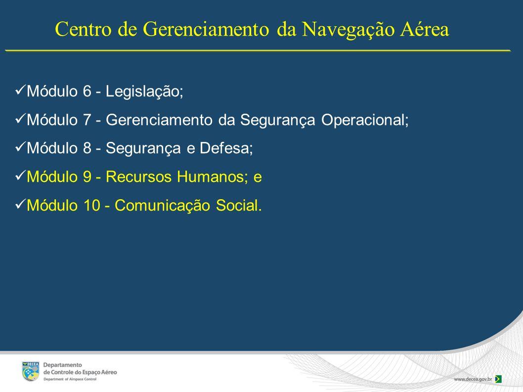 Centro de Gerenciamento da Navegação Aérea Módulo 6 - Legislação; Módulo 7 - Gerenciamento da Segurança Operacional; Módulo 8 - Segurança e Defesa; Mó