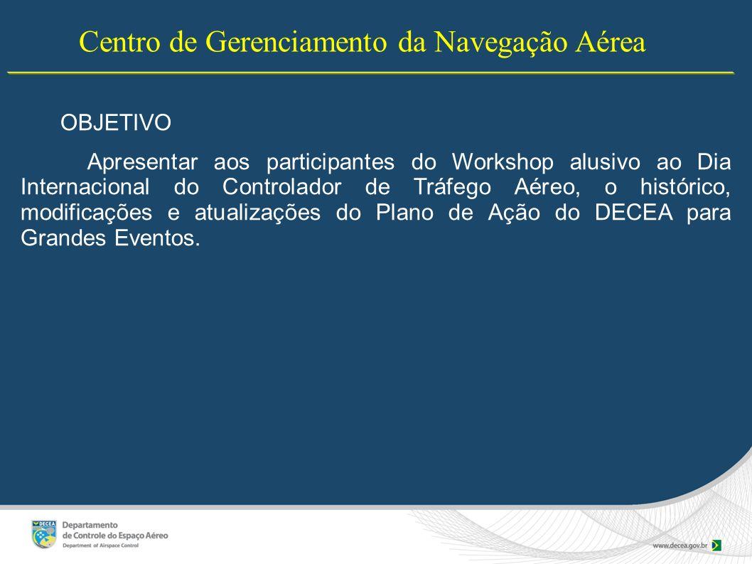 Centro de Gerenciamento da Navegação Aérea OBJETIVO Apresentar aos participantes do Workshop alusivo ao Dia Internacional do Controlador de Tráfego Aé