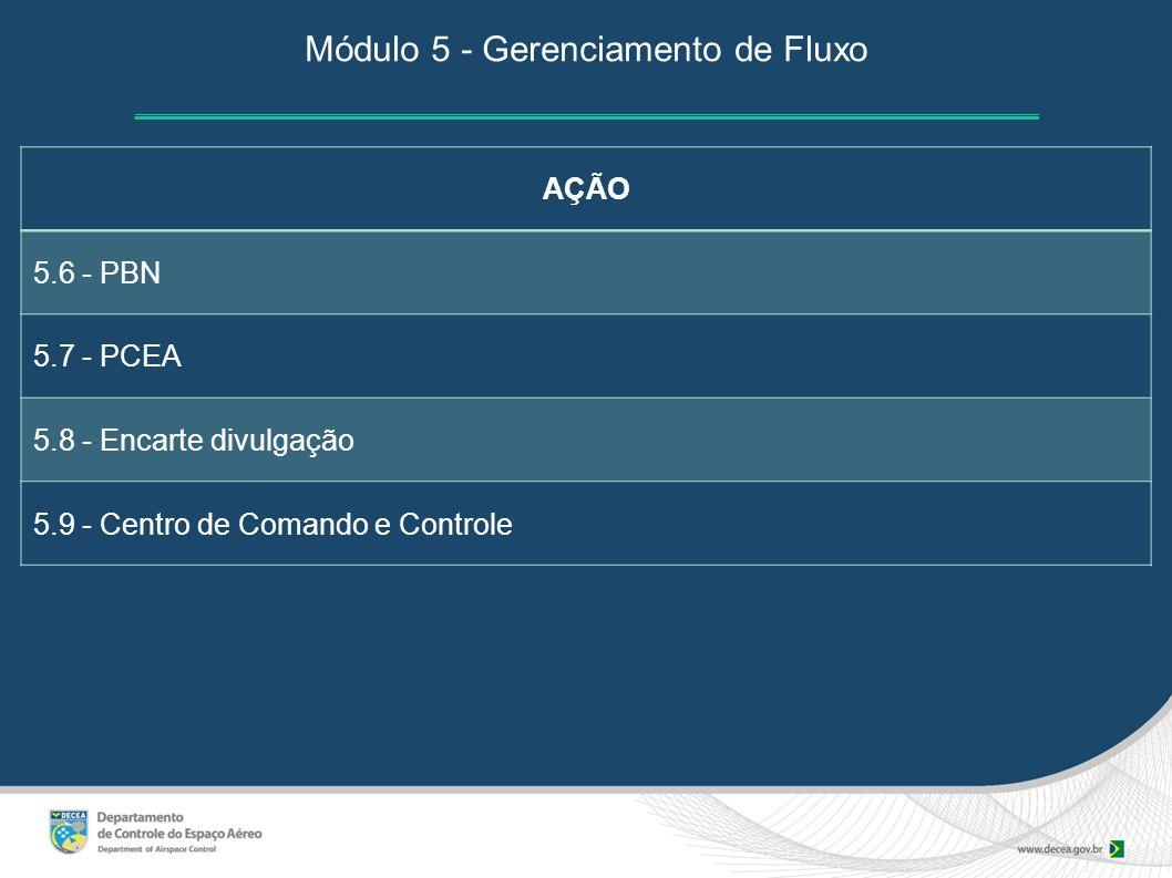 AÇÃO 5.6 - PBN 5.7 - PCEA 5.8 - Encarte divulgação 5.9 - Centro de Comando e Controle Módulo 5 - Gerenciamento de Fluxo