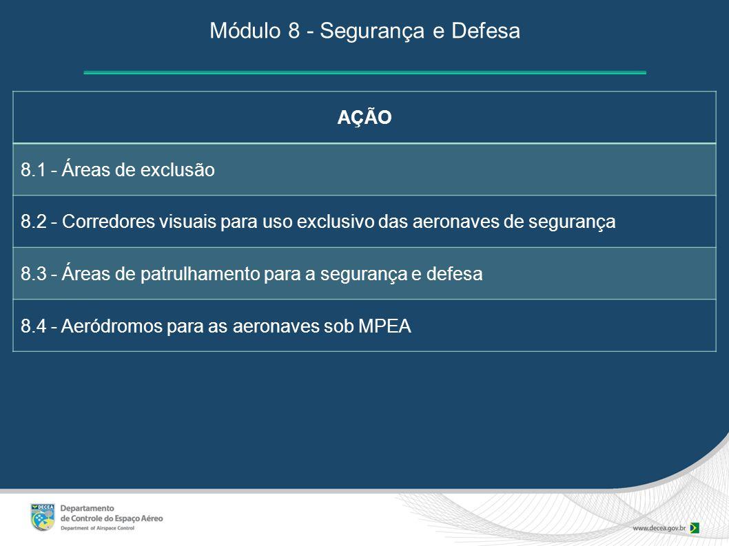 Módulo 8 - Segurança e Defesa AÇÃO 8.1 - Áreas de exclusão 8.2 - Corredores visuais para uso exclusivo das aeronaves de segurança 8.3 - Áreas de patru