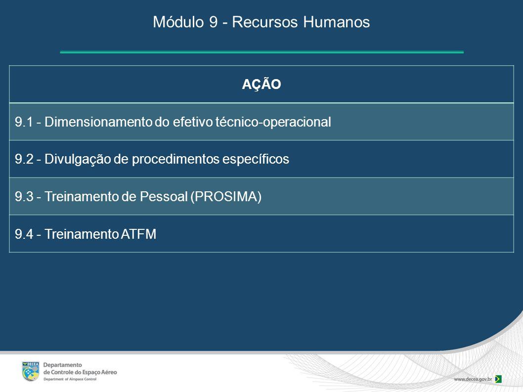 Módulo 9 - Recursos Humanos AÇÃO 9.1 - Dimensionamento do efetivo técnico-operacional 9.2 - Divulgação de procedimentos específicos 9.3 - Treinamento