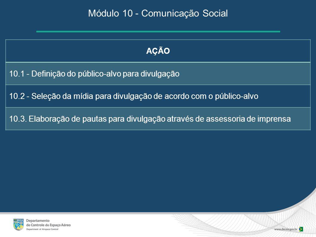 Módulo 10 - Comunicação Social AÇÃO 10.1 - Definição do público-alvo para divulgação 10.2 - Seleção da mídia para divulgação de acordo com o público-a