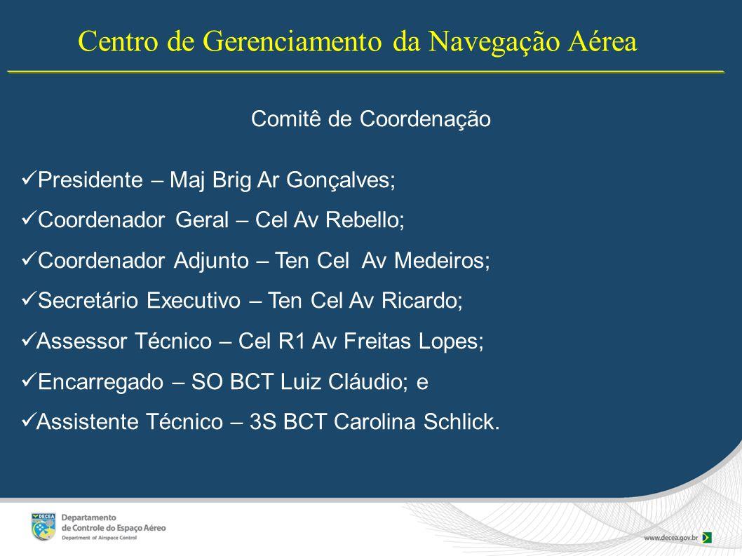 Centro de Gerenciamento da Navegação Aérea Comitê de Coordenação Presidente – Maj Brig Ar Gonçalves; Coordenador Geral – Cel Av Rebello; Coordenador A