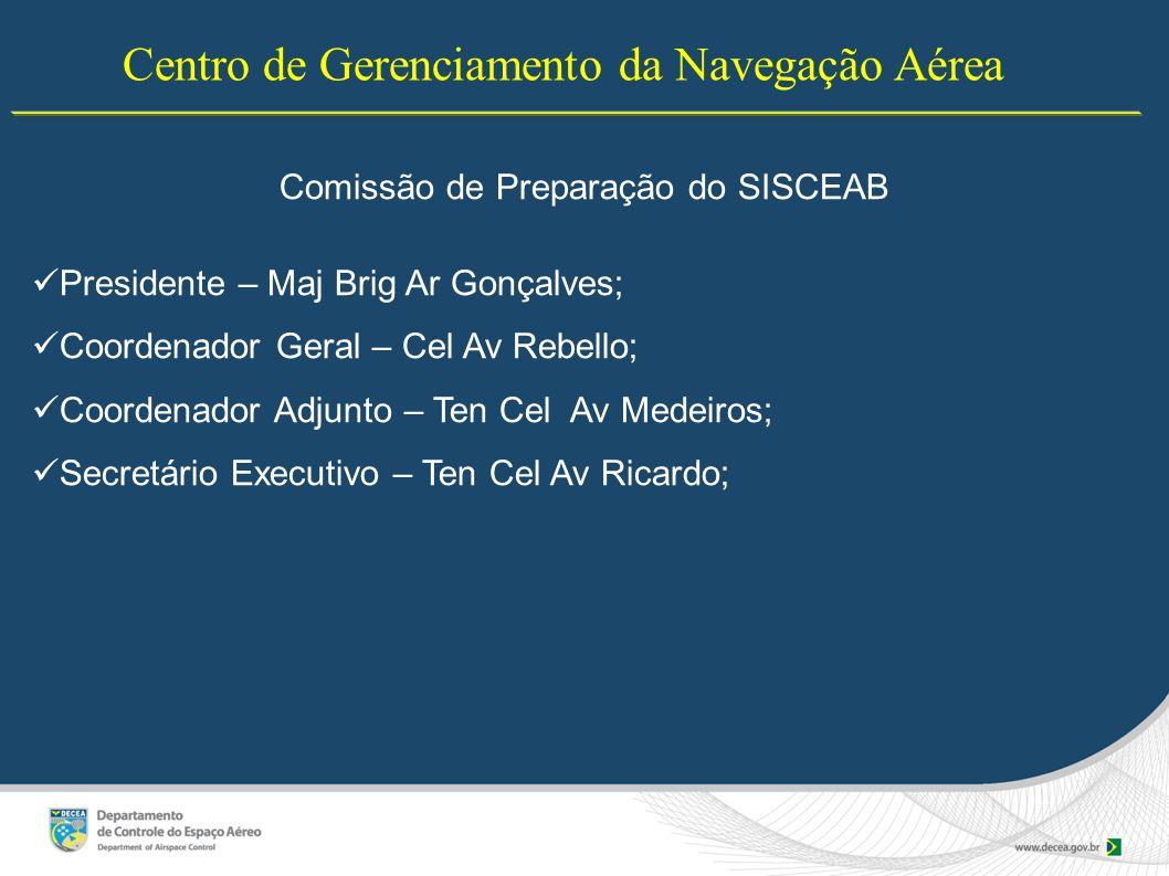 Centro de Gerenciamento da Navegação Aérea Comissão de Preparação do SISCEAB Presidente – Maj Brig Ar Gonçalves; Coordenador Geral – Cel Av Rebello; C