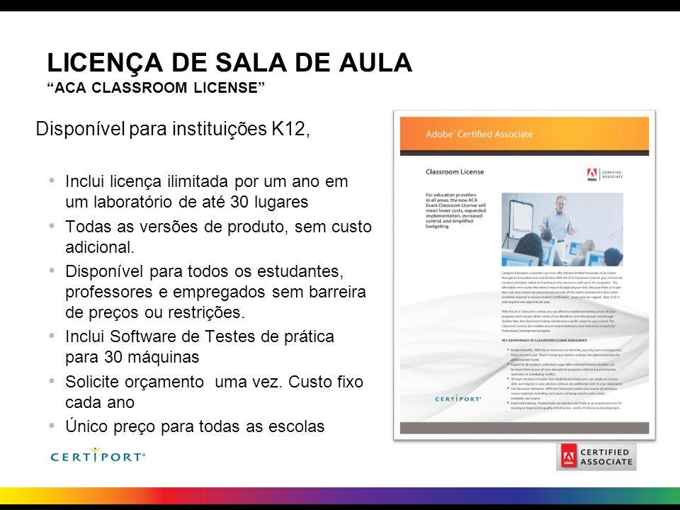 LICENÇA DE SALA DE AULA ACA CLASSROOM LICENSE Disponível para instituições K12, Inclui licença ilimitada por um ano em um laboratório de até 30 lugare