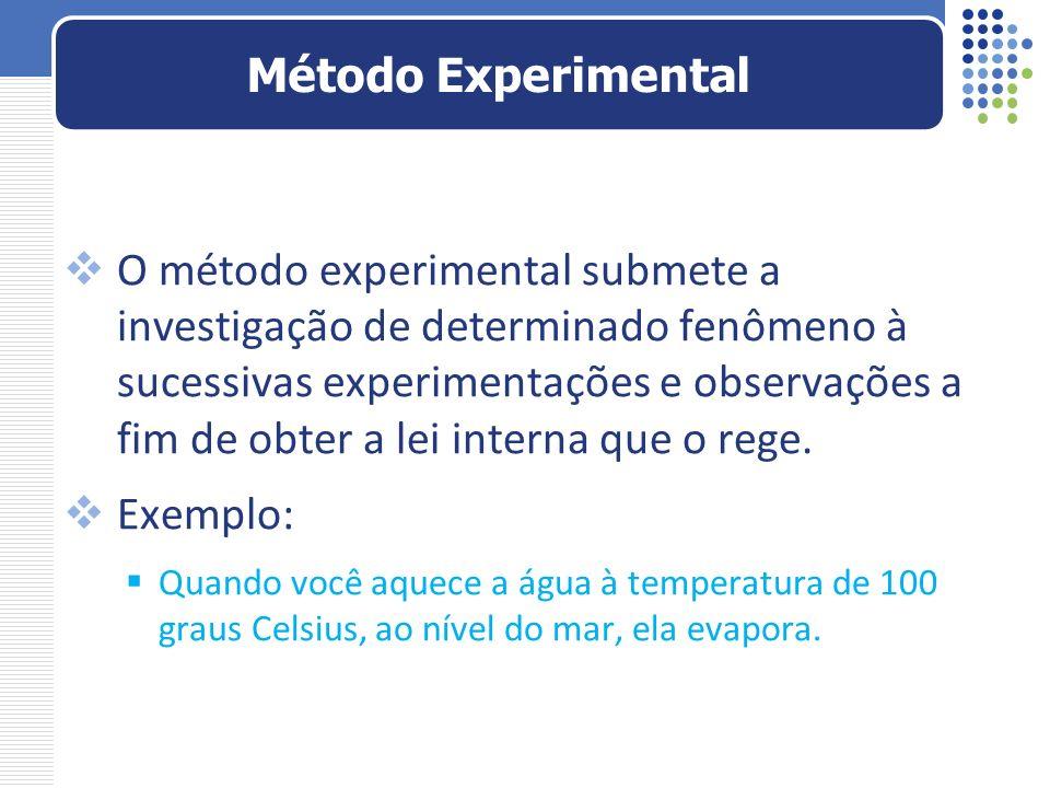 O método experimental submete a investigação de determinado fenômeno à sucessivas experimentações e observações a fim de obter a lei interna que o reg