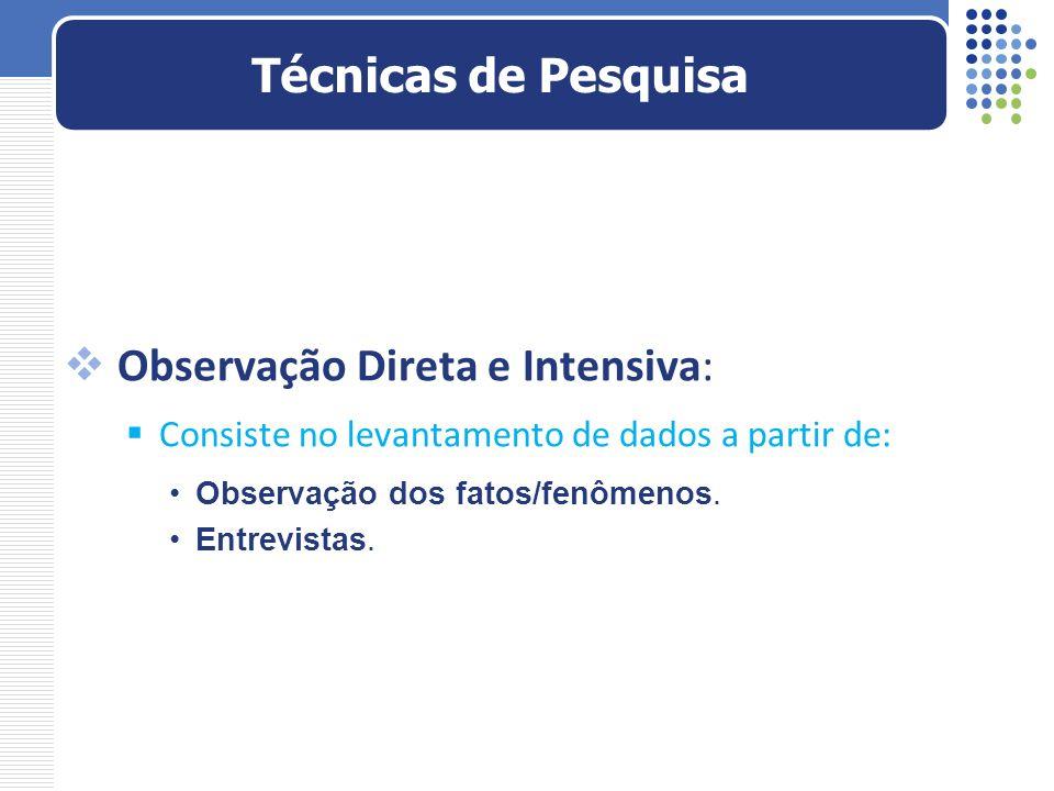 Observação Direta e Intensiva: Consiste no levantamento de dados a partir de: Observação dos fatos/fenômenos. Entrevistas. Técnicas de Pesquisa