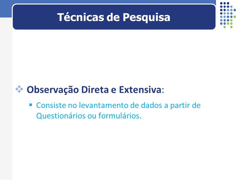 Observação Direta e Extensiva: Consiste no levantamento de dados a partir de Questionários ou formulários. Técnicas de Pesquisa