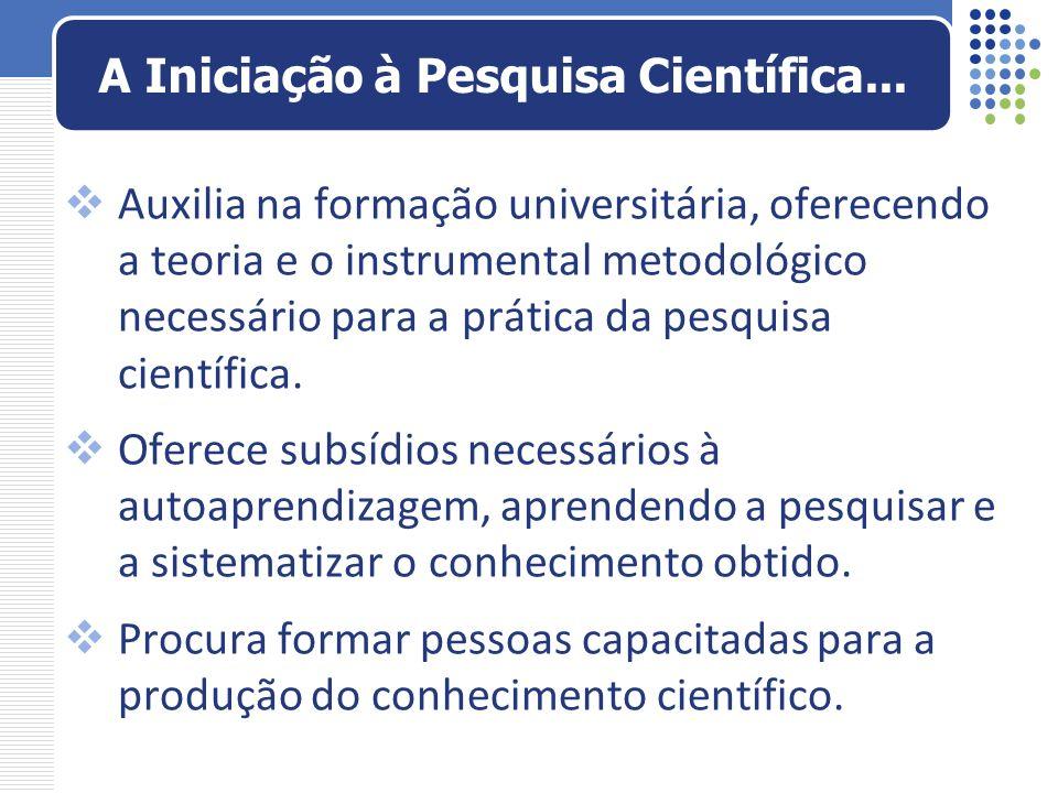 Auxilia na formação universitária, oferecendo a teoria e o instrumental metodológico necessário para a prática da pesquisa científica. Oferece subsídi