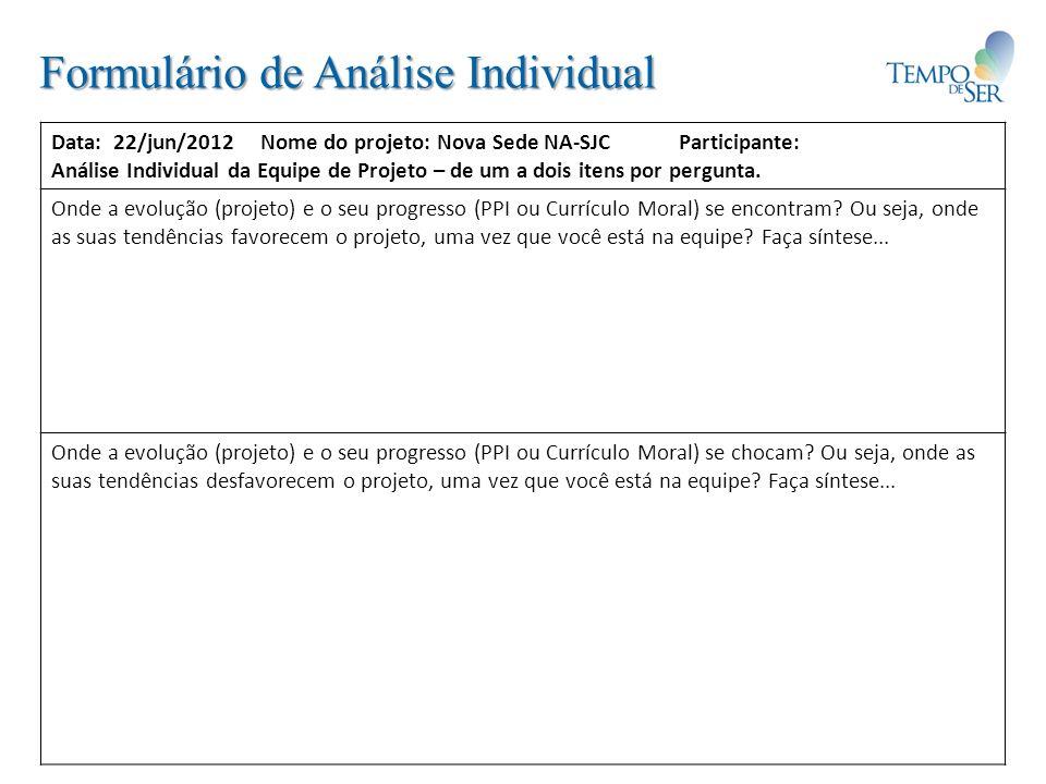 Formulário de Análise Individual Data: 22/jun/2012Nome do projeto: Nova Sede NA-SJCParticipante: Análise Individual da Equipe de Projeto – de um a doi