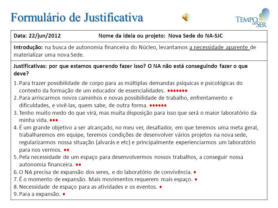 Formulário de Justificativa Data: 22/jun/2012 Nome da ideia ou projeto: Nova Sede do NA-SJC Introdução: na busca de autonomia financeira do Núcleo, le