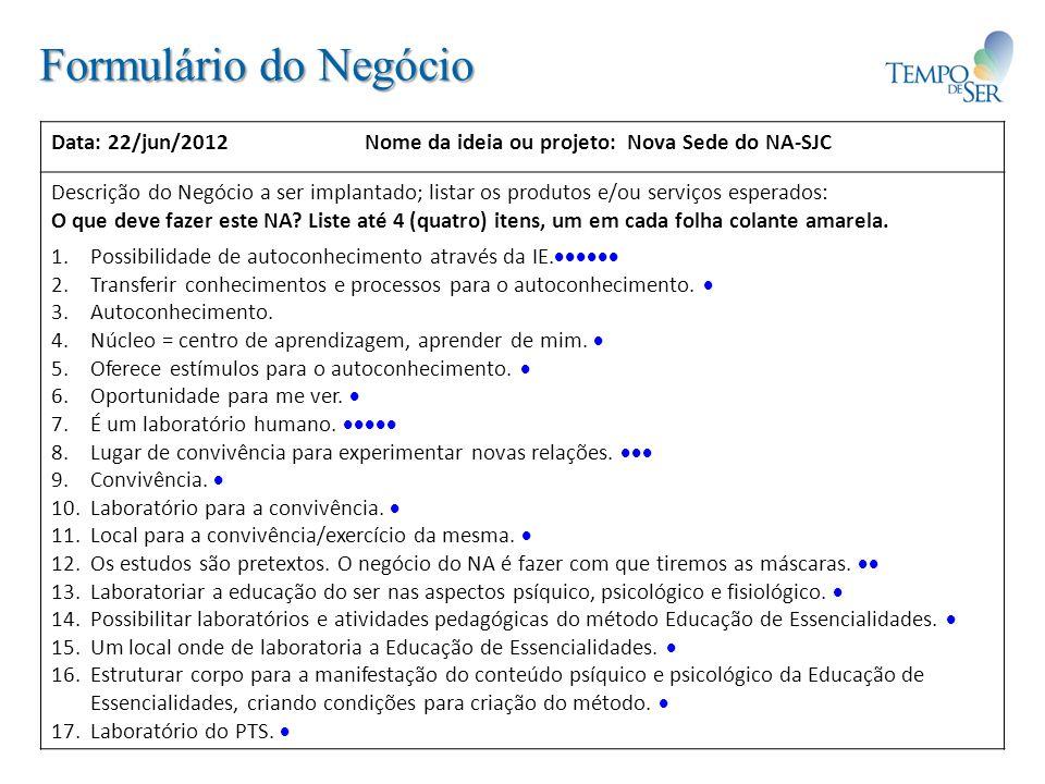 Formulário do Negócio Data: 22/jun/2012Nome da ideia ou projeto: Nova Sede do NA-SJC Descrição do Negócio a ser implantado; listar os produtos e/ou serviços esperados: O que deve fazer este NA.