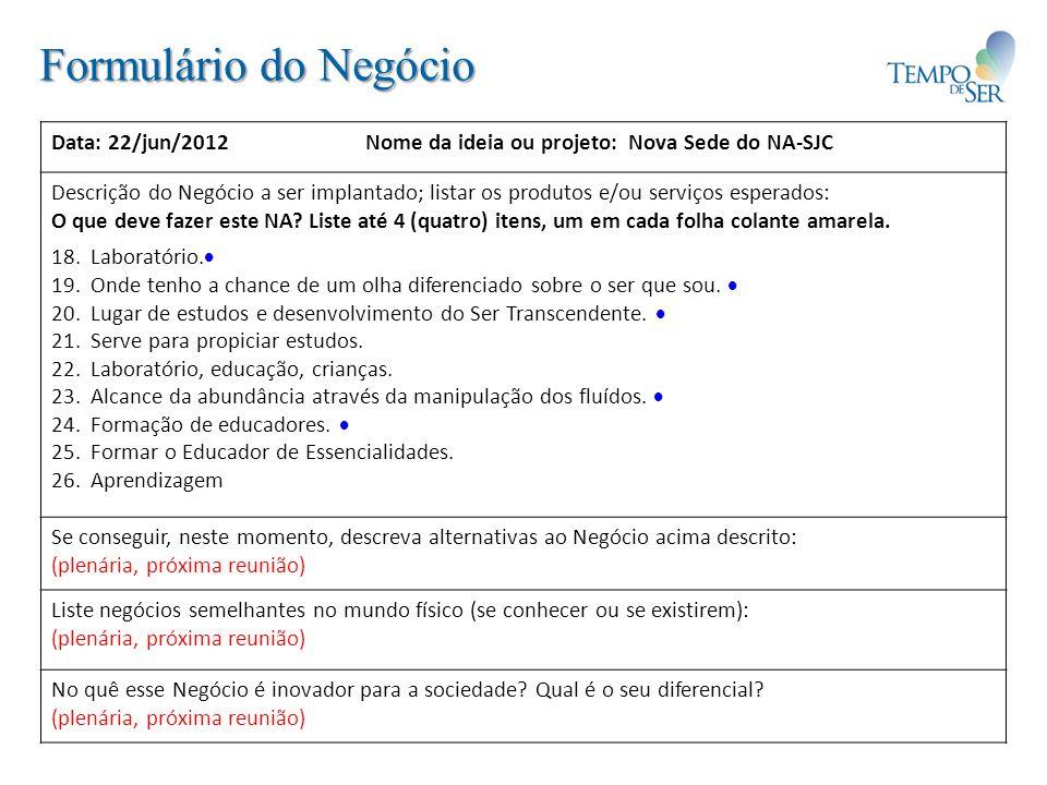 Formulário de Análise Individual Data: 22/jun/2012Nome do projeto: Nova Sede NA-SJCParticipante: Análise Individual da Equipe de Projeto – de um a dois itens por pergunta.