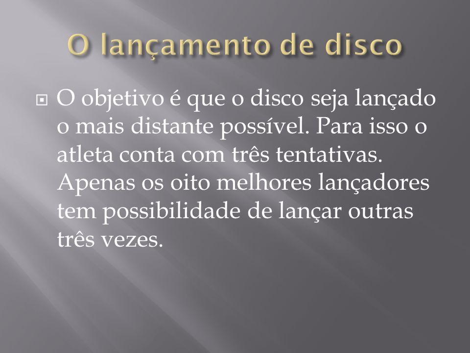 O disco tem medidas e pesos diferentes para homens e mulheres.
