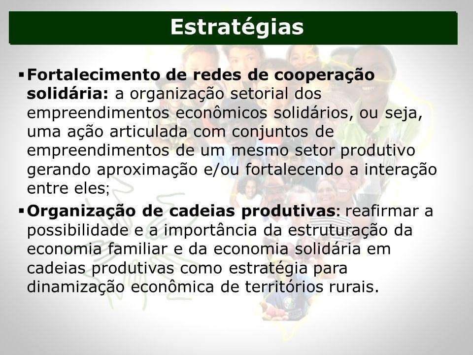 Estratégias Fortalecimento de redes de cooperação solidária: a organização setorial dos empreendimentos econômicos solidários, ou seja, uma ação articulada com conjuntos de empreendimentos de um mesmo setor produtivo gerando aproximação e/ou fortalecendo a interação entre eles ; Organização de cadeias produtivas : reafirmar a possibilidade e a importância da estruturação da economia familiar e da economia solidária em cadeias produtivas como estratégia para dinamização econômica de territórios rurais.