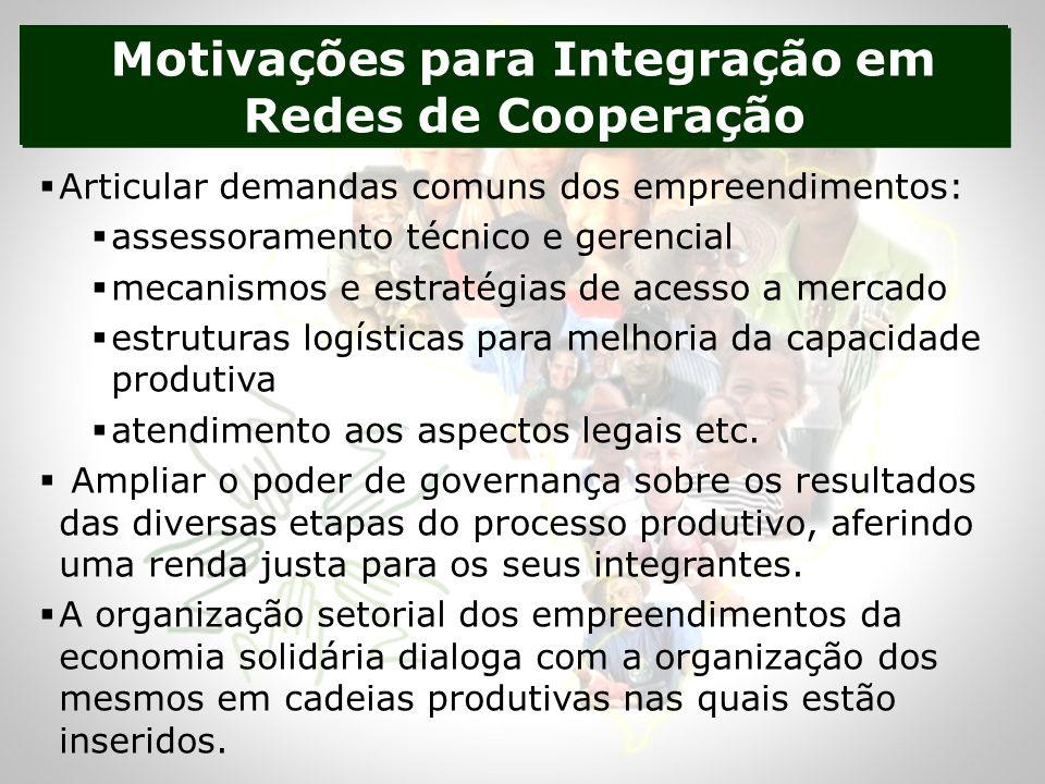 Motivações para Integração em Redes de Cooperação Articular demandas comuns dos empreendimentos: assessoramento técnico e gerencial mecanismos e estratégias de acesso a mercado estruturas logísticas para melhoria da capacidade produtiva atendimento aos aspectos legais etc.