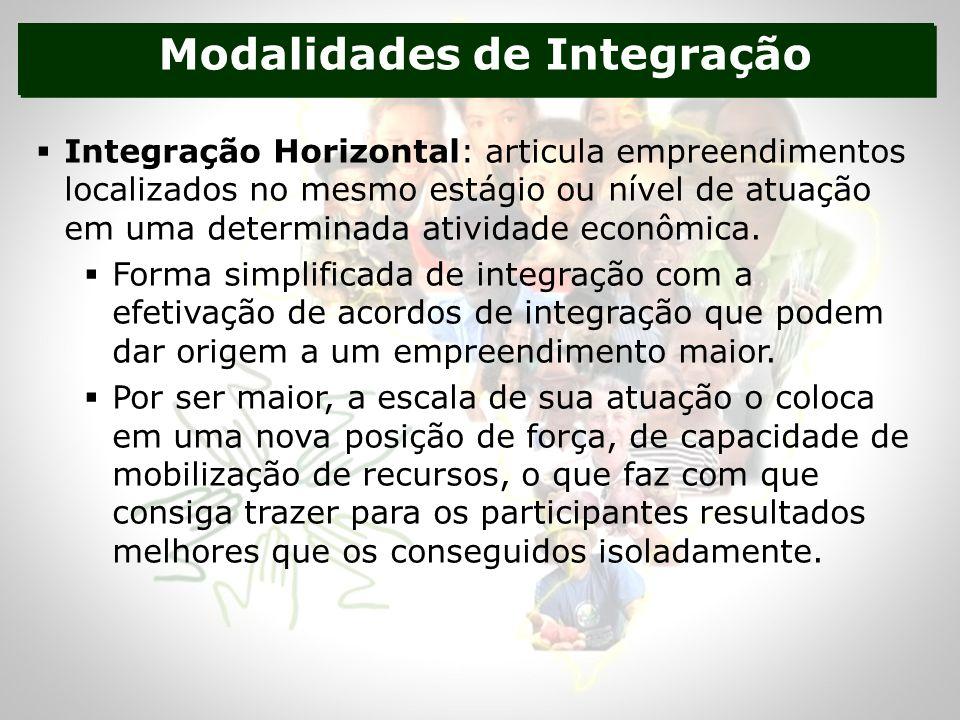 Modalidades de Integração Integração Horizontal: articula empreendimentos localizados no mesmo estágio ou nível de atuação em uma determinada atividade econômica.