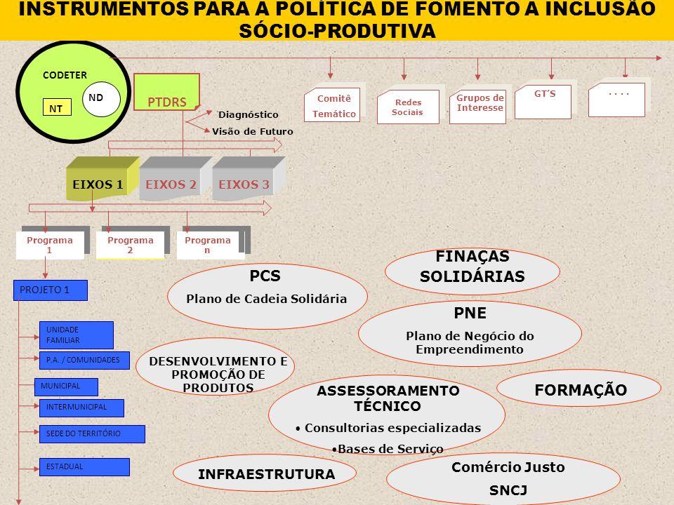 PROJETO 1 Programa 2 Programa n Programa 1 ND CODETER NT PTDRS Visão de Futuro Diagnóstico EIXOS 1EIXOS 2EIXOS 3 UNIDADE FAMILIAR P.A.