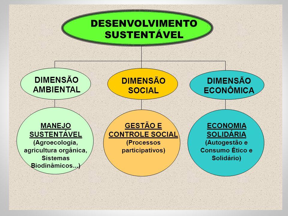 MANEJO SUSTENTÁVEL (Agroecologia, agricultura orgânica, Sistemas Biodinâmicos...) GESTÃO E CONTROLE SOCIAL (Processos participativos) ECONOMIA SOLIDÁRIA (Autogestão e Consumo Ético e Solidário) DESENVOLVIMENTO SUSTENTÁVEL DIMENSÃO AMBIENTAL DIMENSÃO SOCIAL DIMENSÃO ECONÔMICA