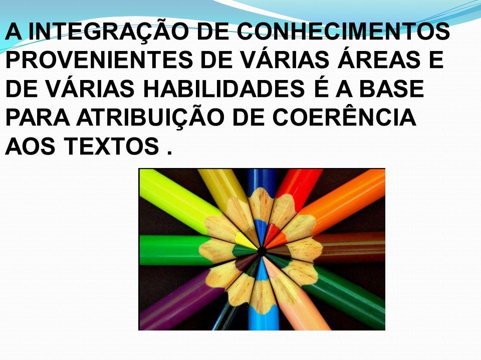 A INTEGRAÇÃO DE CONHECIMENTOS PROVENIENTES DE VÁRIAS ÁREAS E DE VÁRIAS HABILIDADES É A BASE PARA ATRIBUIÇÃO DE COERÊNCIA AOS TEXTOS.
