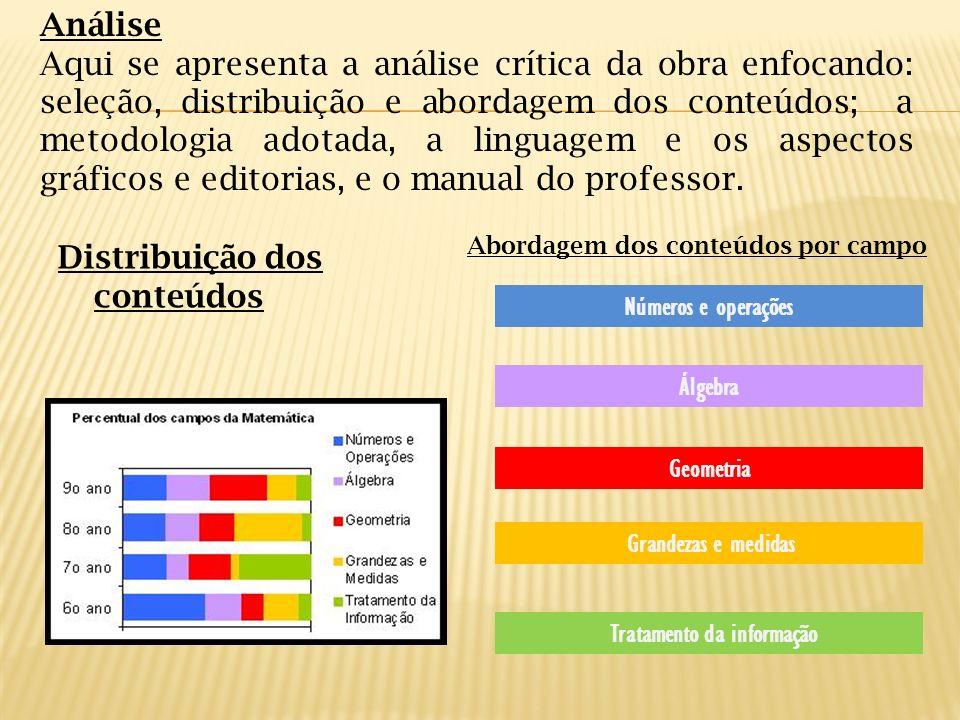 Distribuição dos conteúdos Abordagem dos conteúdos por campo Análise Aqui se apresenta a análise crítica da obra enfocando: seleção, distribuição e ab