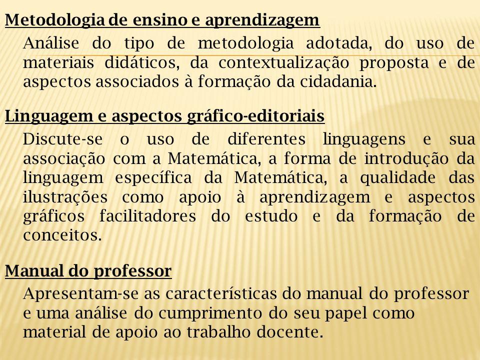 Metodologia de ensino e aprendizagem Análise do tipo de metodologia adotada, do uso de materiais didáticos, da contextualização proposta e de aspectos
