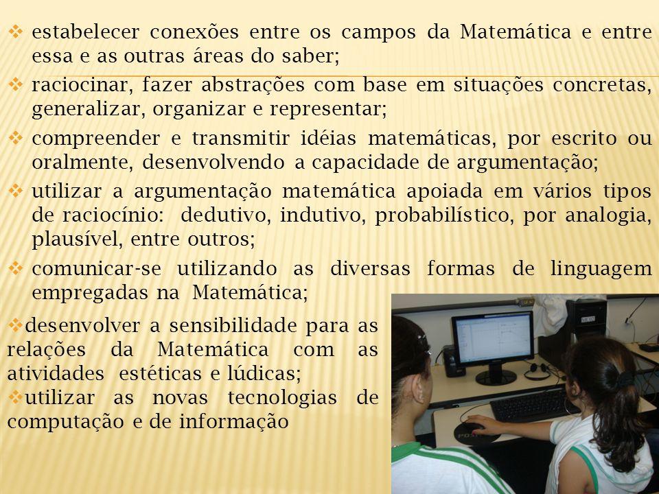 estabelecer conexões entre os campos da Matemática e entre essa e as outras áreas do saber; raciocinar, fazer abstrações com base em situações concret