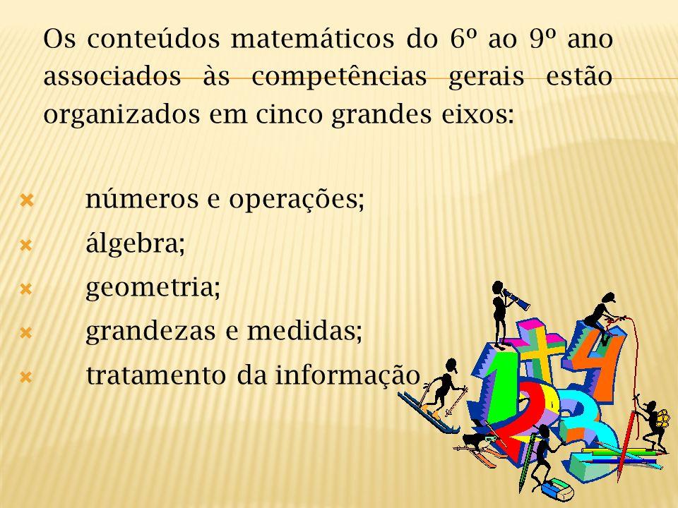 Os conteúdos matemáticos do 6º ao 9º ano associados às competências gerais estão organizados em cinco grandes eixos: números e operações; álgebra; geo