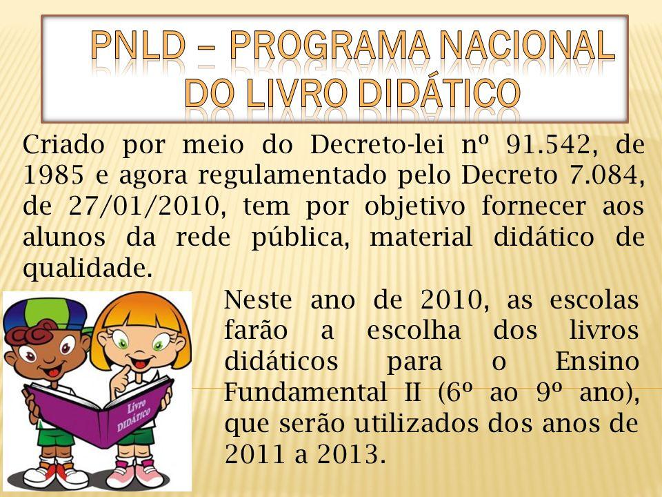 Neste ano de 2010, as escolas farão a escolha dos livros didáticos para o Ensino Fundamental II (6º ao 9º ano), que serão utilizados dos anos de 2011