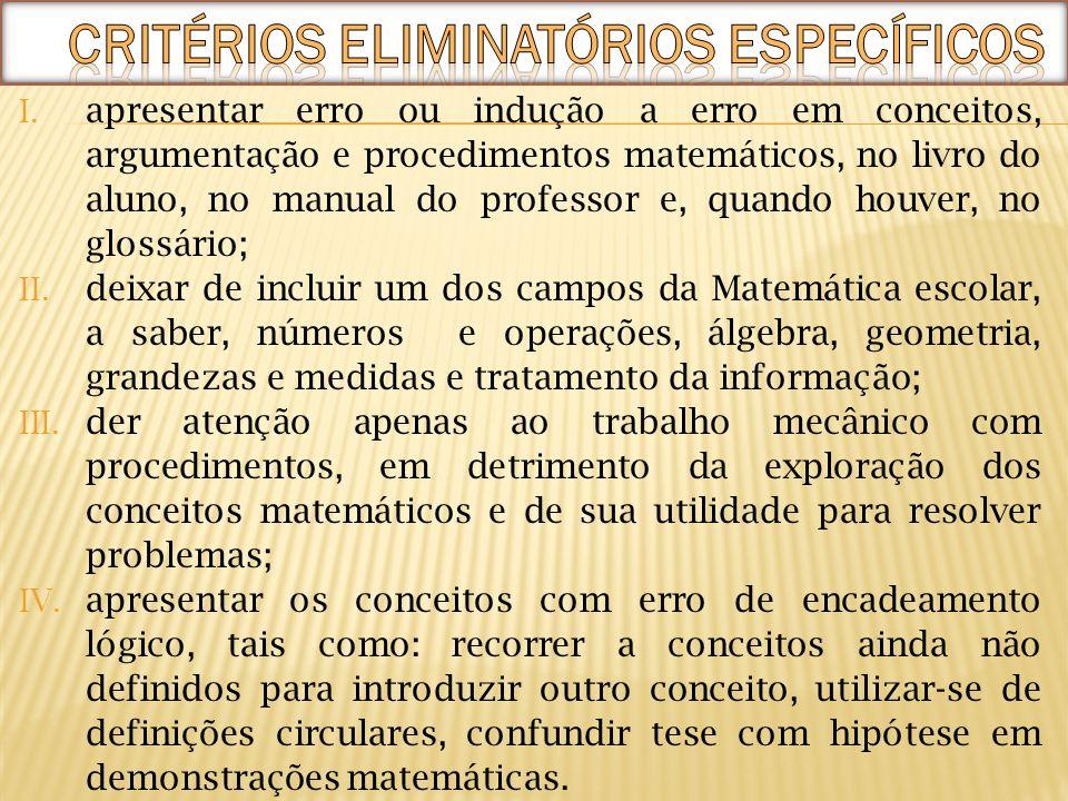 I. apresentar erro ou indução a erro em conceitos, argumentação e procedimentos matemáticos, no livro do aluno, no manual do professor e, quando houve