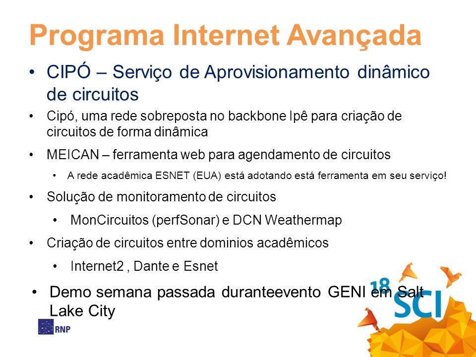Programa Internet Avançada CIPÓ – Serviço de Aprovisionamento dinâmico de circuitos Cipó, uma rede sobreposta no backbone Ipê para criação de circuito