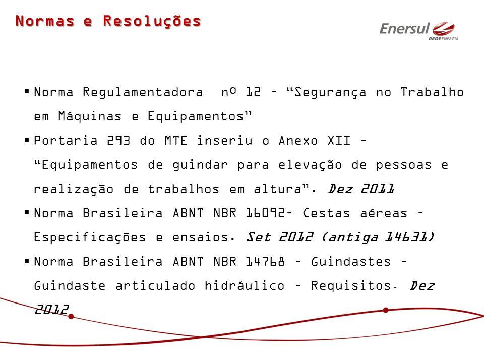 Normas e Resoluções Norma Regulamentadora nº 12 – Segurança no Trabalho em Máquinas e Equipamentos Portaria 293 do MTE inseriu o Anexo XII – Equipamen