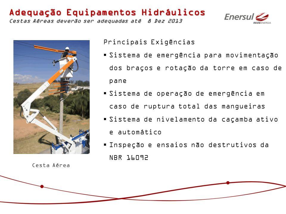 Adequação Equipamentos Hidráulicos Cestas Aéreas deverão ser adequadas até 8 Dez 2013 Principais Exigências Sistema de emergência para movimentação do