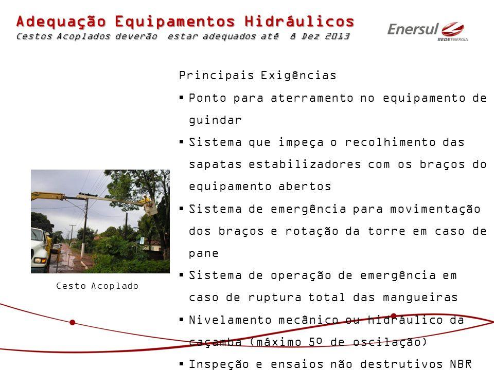 Cesto Acoplado Adequação Equipamentos Hidráulicos Cestos Acoplados deverão estar adequados até 8 Dez 2013 Principais Exigências Ponto para aterramento