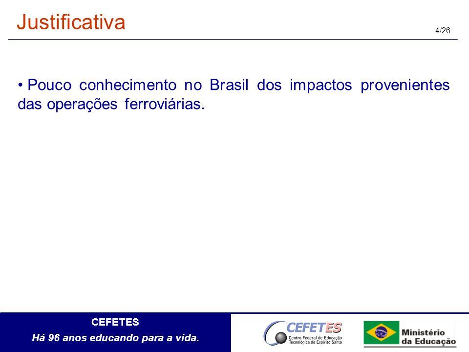CEFETES Há 96 anos educando para a vida. 4/26 Pouco conhecimento no Brasil dos impactos provenientes das operações ferroviárias. Justificativa