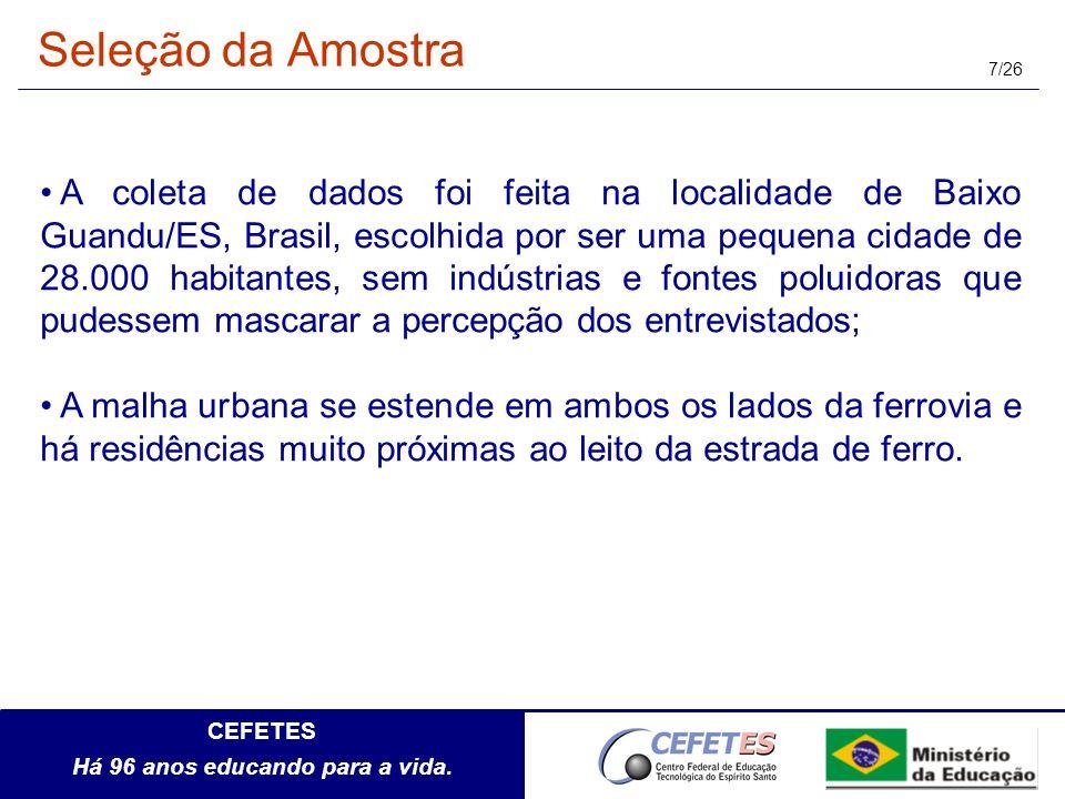 CEFETES Há 96 anos educando para a vida. 7/26 A coleta de dados foi feita na localidade de Baixo Guandu/ES, Brasil, escolhida por ser uma pequena cida
