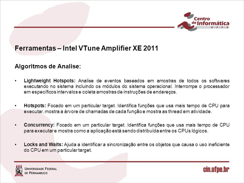 Ferramentas – Intel VTune Amplifier XE 2011 Algoritmos de Analise: Lightweight Hotspots: Analise de eventos baseados em amostras de todos os softwares executando no sistema incluindo os módulos do sistema operacional.