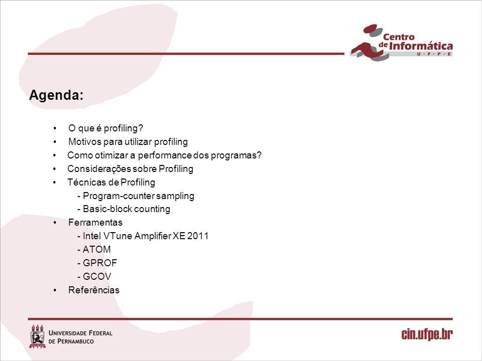 Agenda: O que é profiling? Motivos para utilizar profiling Como otimizar a performance dos programas? Considerações sobre Profiling Técnicas de Profil