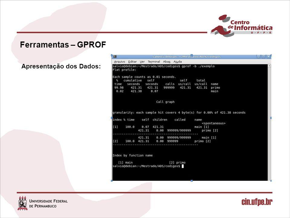 Ferramentas – GPROF Apresentação dos Dados: