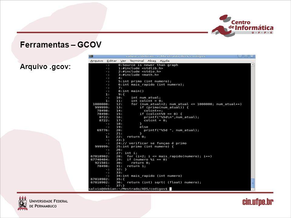 Ferramentas – GCOV Arquivo.gcov: