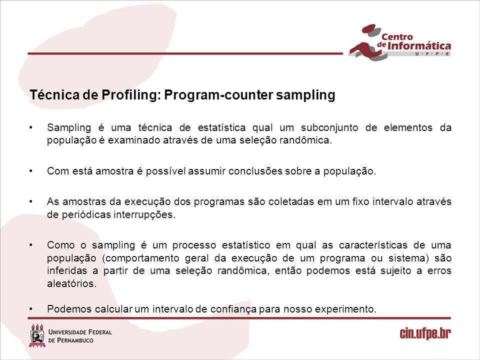 Técnica de Profiling: Program-counter sampling Sampling é uma técnica de estatística qual um subconjunto de elementos da população é examinado através de uma seleção randômica.