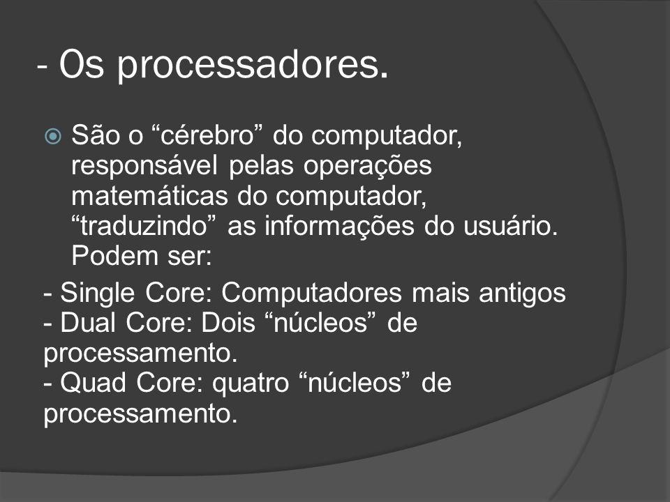 - Os processadores.