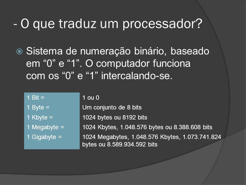 - O que traduz um processador.Sistema de numeração binário, baseado em 0 e 1.