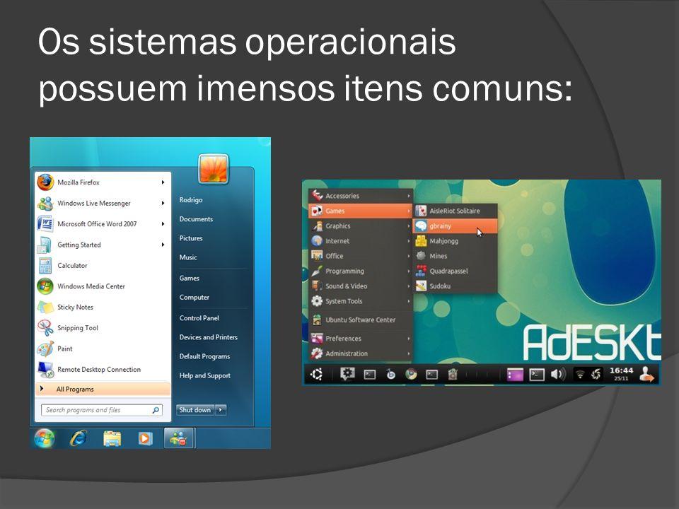 Os sistemas operacionais possuem imensos itens comuns: