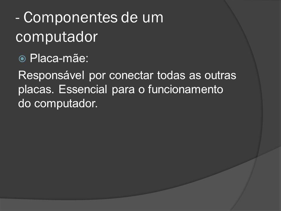 - Componentes de um computador Placa-mãe: Responsável por conectar todas as outras placas.