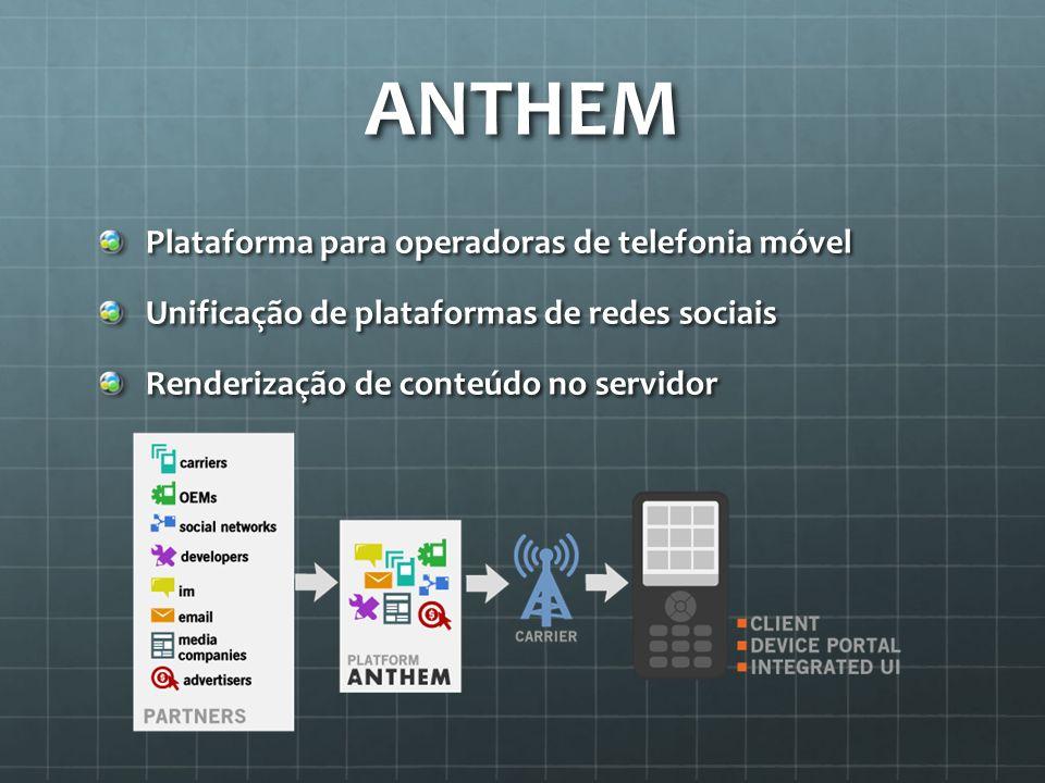 ANTHEM Plataforma para operadoras de telefonia móvel Unificação de plataformas de redes sociais Renderização de conteúdo no servidor